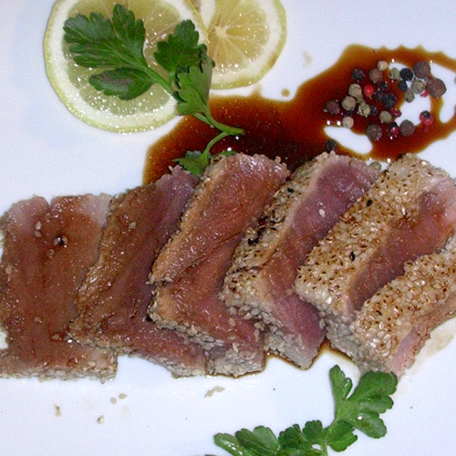 Roast beef di tonno fresco in salsa agrodolce