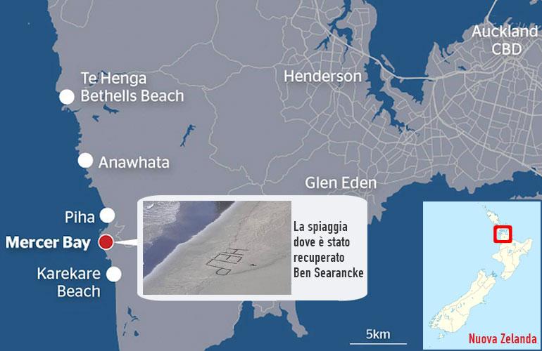 Mappa del luogo dell'avvistamento