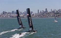 Gli AC 45 di Oracle Racing si allenano nelle acque di San Francisco